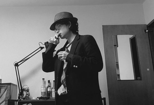 Out of style Jacket Hat Pipe Glass Glasses Blackhair Black Hair Smoking Old-fashioned Young Adult Mafia  Monochrome Monochromatic