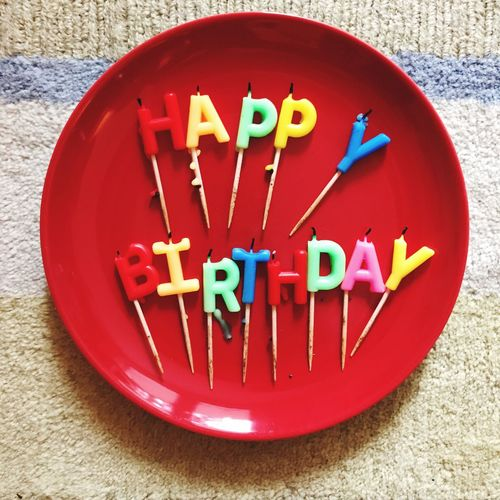 Birthday Party Birthday Birthday Candles Happy Birthday No People Text Close-up High Angle View Multi Colored Indoors  Table Communication