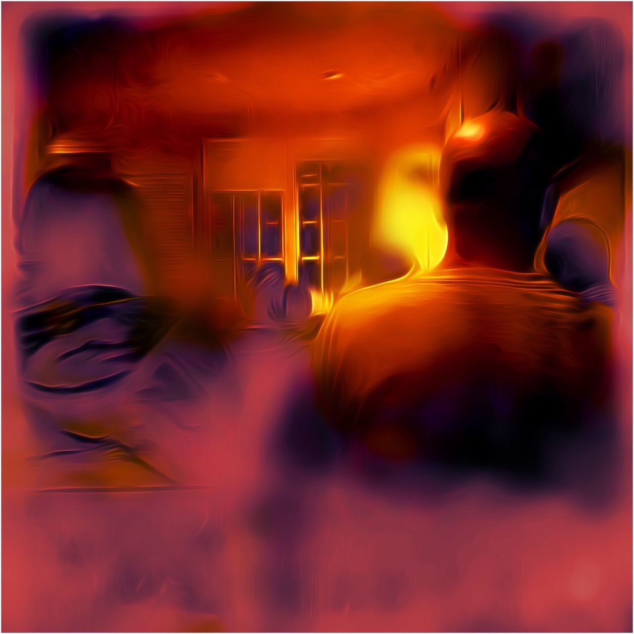 Meeting Hall - Silverlake Ca - Friday 8:30pm Photograph TangledFX Digital Art Abstract Filters Distorted Reality Finger Drawn Night Surreal Colors Meetinghall Light And Dark Seating
