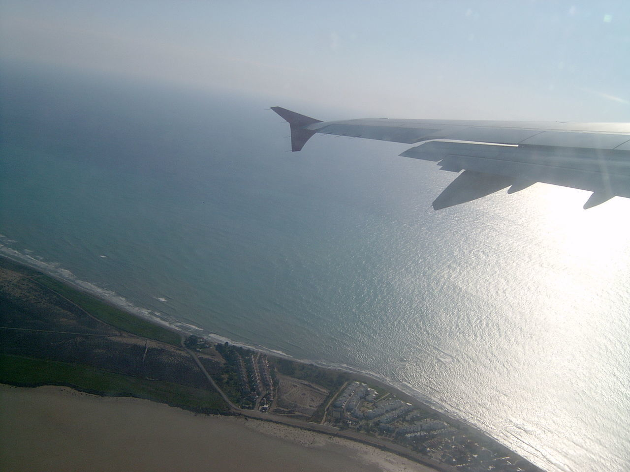 Aerial View Airplane Airplane Wing Flying Sea Sky Transportation Water
