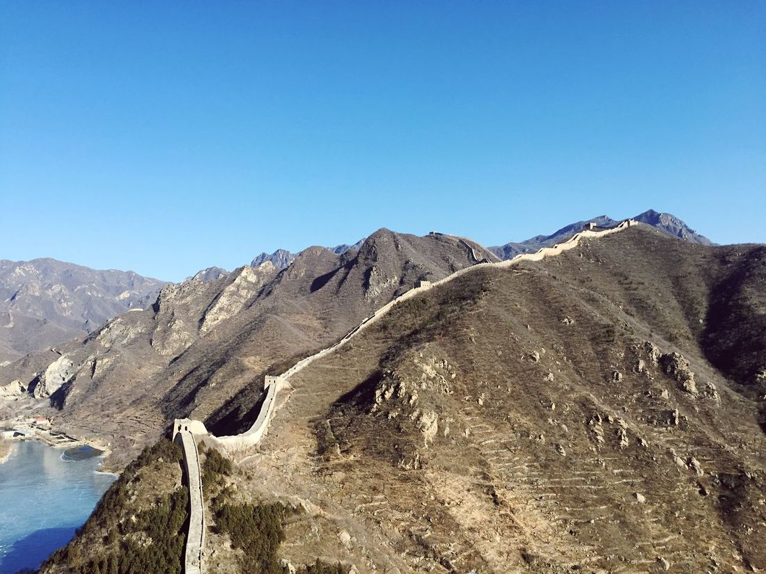 Climbing The Great Wall Of China Impressive View Historical Place