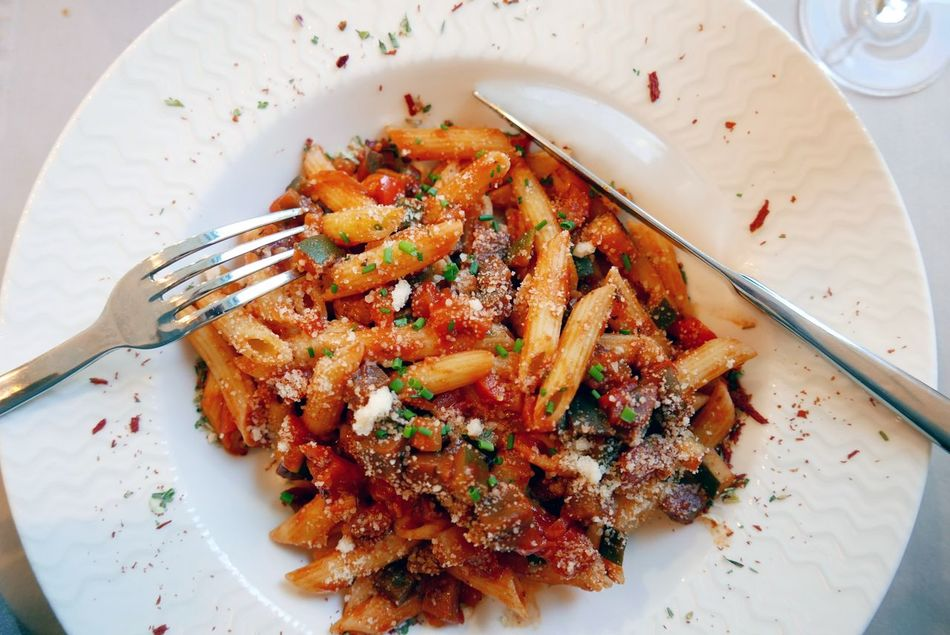 Plate of penne a la Provençale Detail Pasta Penne Plate Cutlery Provençale Meal At Table The Foodie - 2015 EyeEm Awards Mealtime
