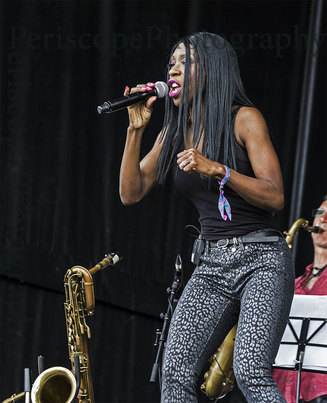 Heather Small of M People fame performs at a free concert in Bents Park, South Shields, UK Heather Small M People Musical Instrument Performance Performer  Singer  Snake Davis Wireless Technology