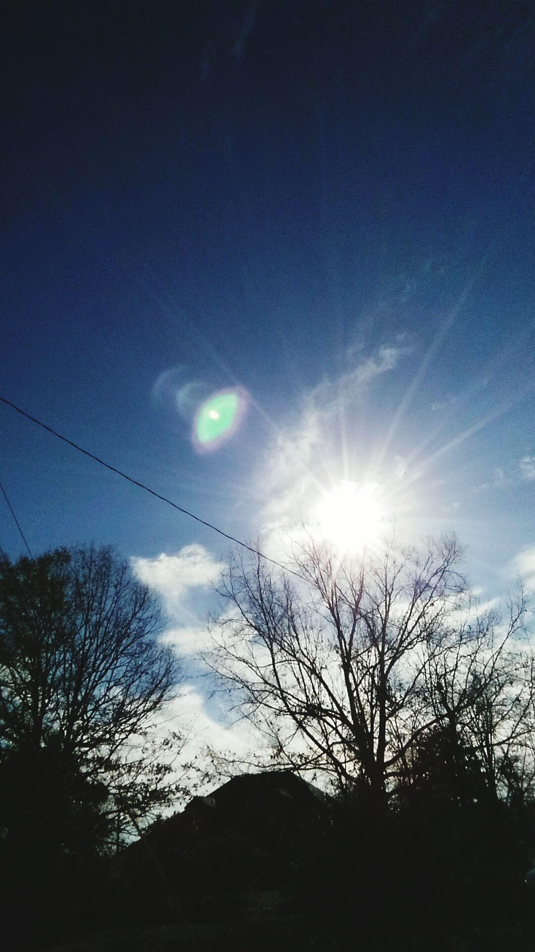 sun, silhouette, tree, sky, low angle view, sunbeam, tranquility, sunlight, beauty in nature, scenics, tranquil scene, nature, lens flare, bare tree, blue, cloud - sky, branch, vapor trail, outdoors, bright