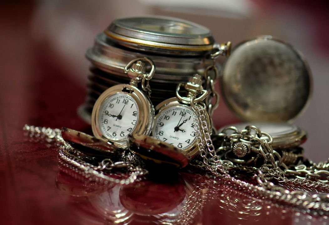 Close-up Indoors  Pocket Watches Table