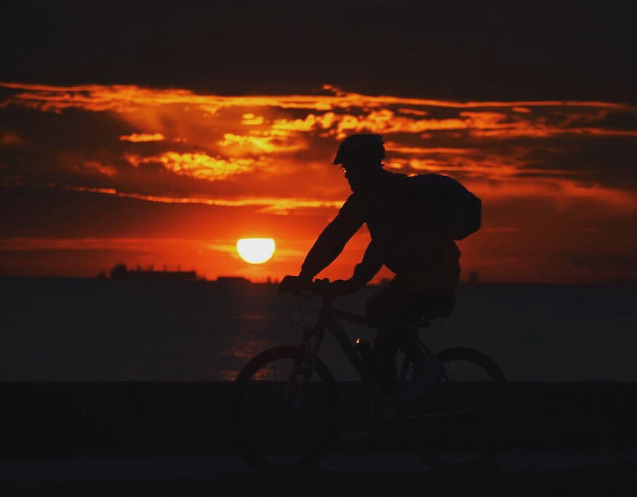 İstanbul. Sunset Silhouette Cloud - Sky Bicycle One Person Cycling Riding Biker Türkiye Istanbul Photographer Turkey Travel Nikon Sea Bostancı Gunbatimi
