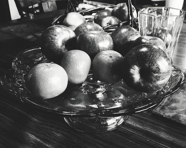 Apples And Oranges Fruit Black And White Black And White Photography Black And White Fruit Table Glass Plate Platter