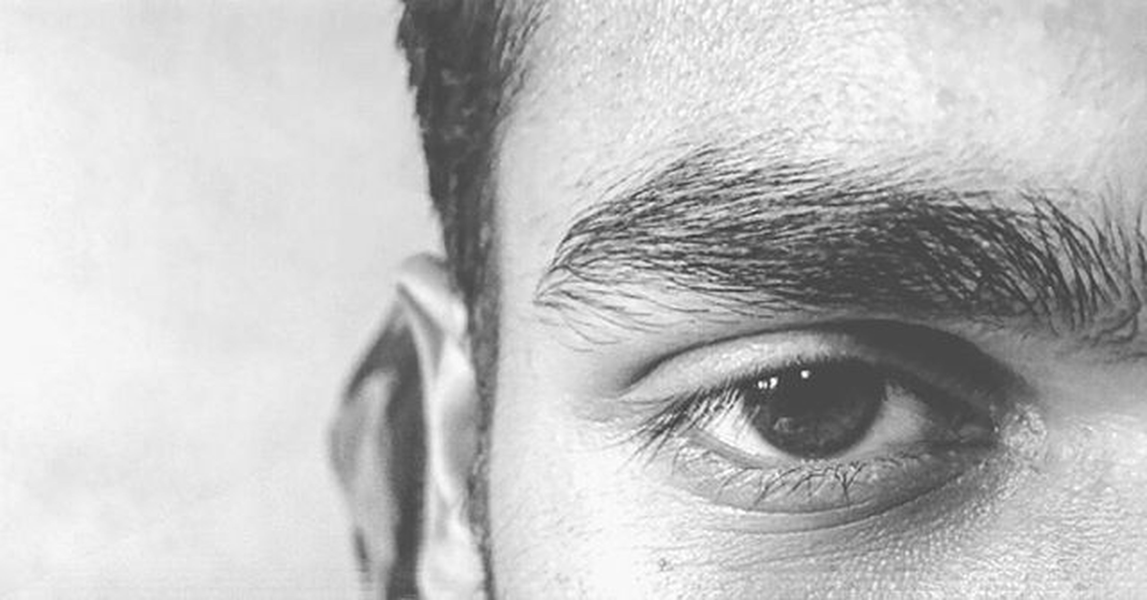 close-up, part of, human eye, headshot, human face, cropped, looking at camera, portrait, focus on foreground, human skin, lifestyles, indoors, eyelash, person, extreme close up, unrecognizable person, detail