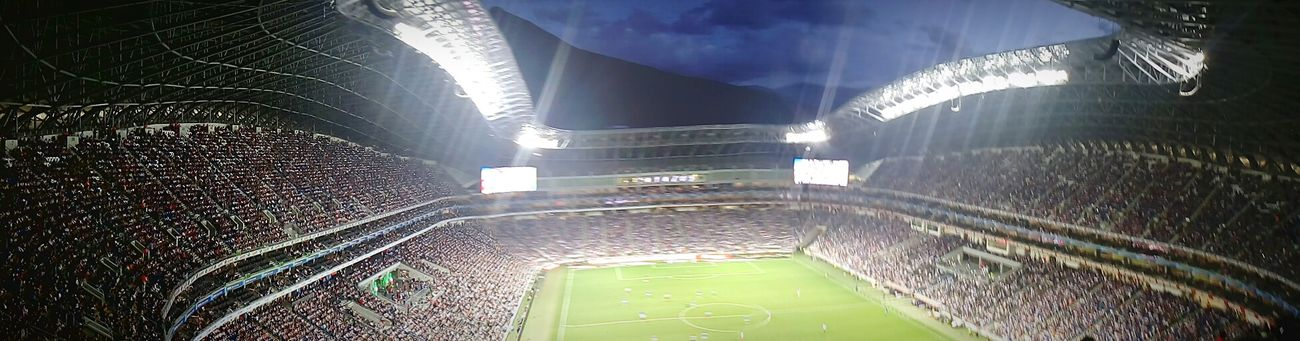 Supporting the team. Rayados!! Architecture Minimalist Architecture Soccer Field Soccer Stadium Sport Sky People People Watching Panoramic Photography Panoramic Monterrey Mexico