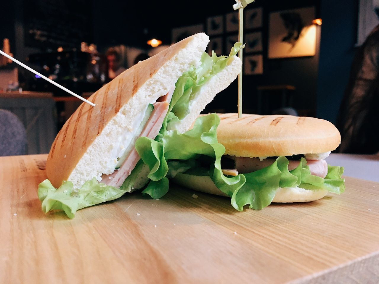Fresh sandwiches with ham and greens Food Food And Drink Freshness Table Indoors  Healthy Eating Sandwich Vegetable No People Close-up Cutting Board Ready-to-eat Sandwiches