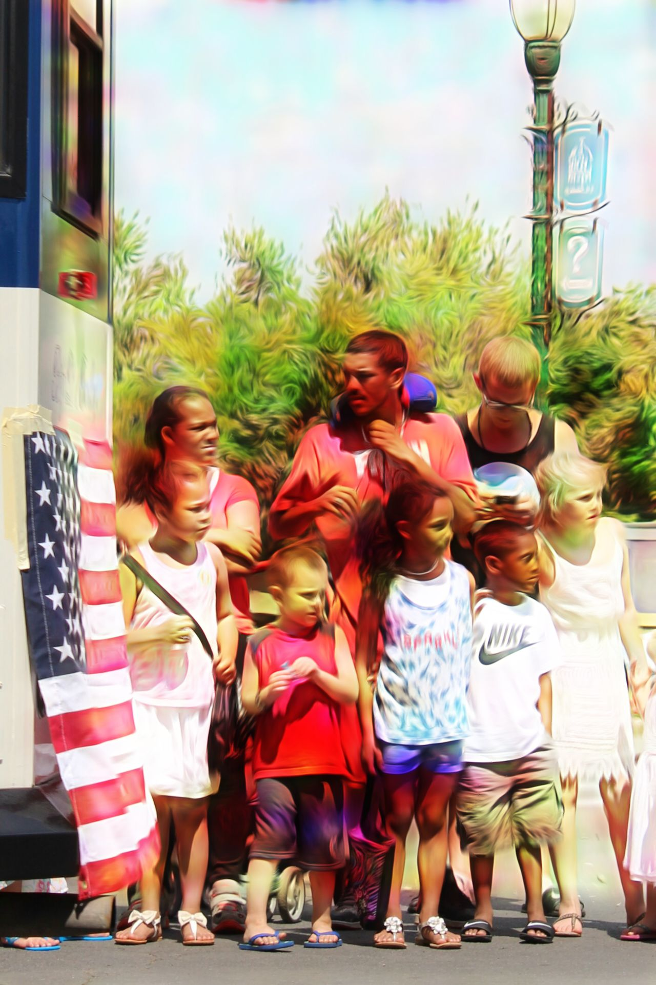 Child Girls Females Person Fun Group Of People Offspring Males  People Outdoors Small Group Of People Vertical Adult Men Cheerful Togetherness Young Adult Day Americans American Flag Parade