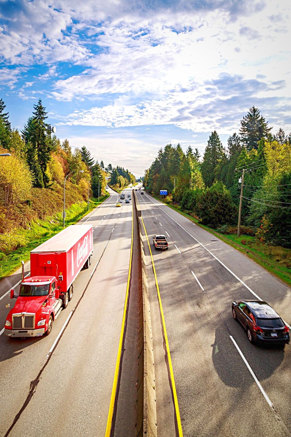 West Vancouver Stree Highway Truck Driving Speed Traffic Vehicle Cars Coca Cola Red