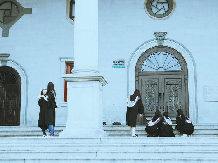 On Campus At University Graduation Graduation Season Graduation Dress Taking Photos Roman Column Great Hall Auditorium University