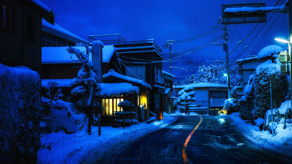 Winter in Japan Alone Architecture Blue Hour Blue Sky Christmas City Cold Temperature Illuminated Japan Japan Travel Japanese  Kawaguchiko Night Nightphotography No People Outdoors Road Sky Snow Travel Destinations Tree Twilight Winter Yamanashi