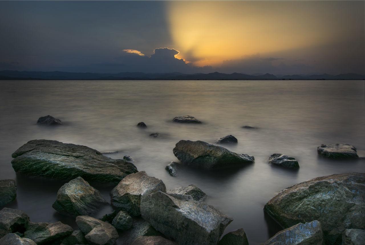 Sunset at Kra Seaw Dam. Cloud Clouds And Sky Dam Danchang Kra S Lake Landscape Long Exposure Nature Rock S Sun Sunlight Travel Twilight Water First Eyeem Photo