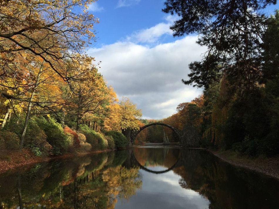 Reflection Water Sky Bridge - Man Made Structure Scenics Tranquility Autumn Outdoors Devil's Bridge Rakotzbrücke Rakotzbridge