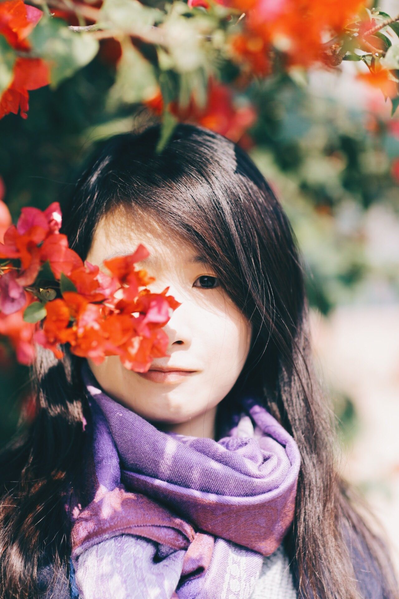 flowery girl One Person Real People Headshot Close-up Flower Nature Leaf Knitted  Outdoors Young Women Day Young Adult Beauty In Nature Portrait Of A Woman Asian  Asian Girl