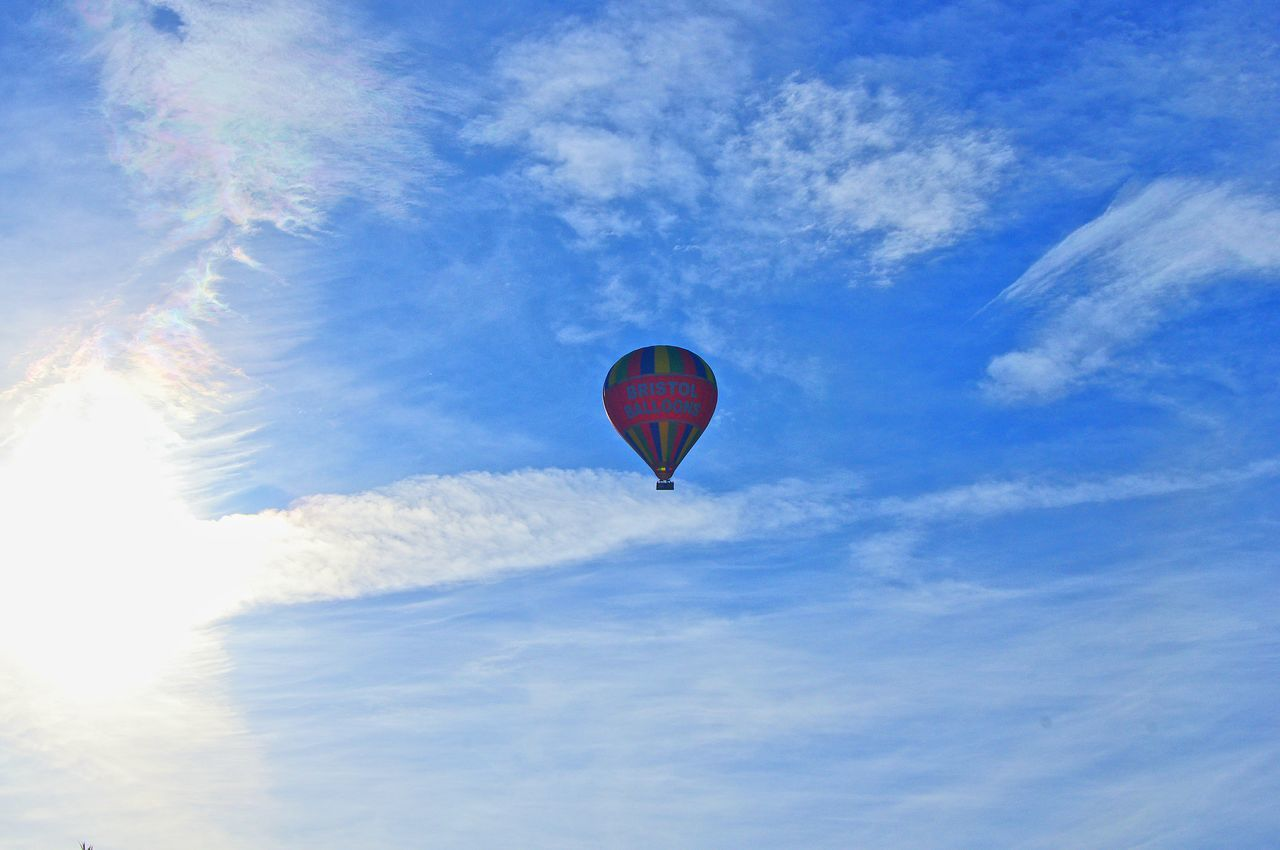 Flying Mid-air Adventure Sky Low Angle View Hot Air Balloon Extreme Sports Freedom Multi Colored Outdoors Cloud - Sky Blue Day 28.5.17 This Morning. Bristol, England Morning Sky Transportation Air Vehicle
