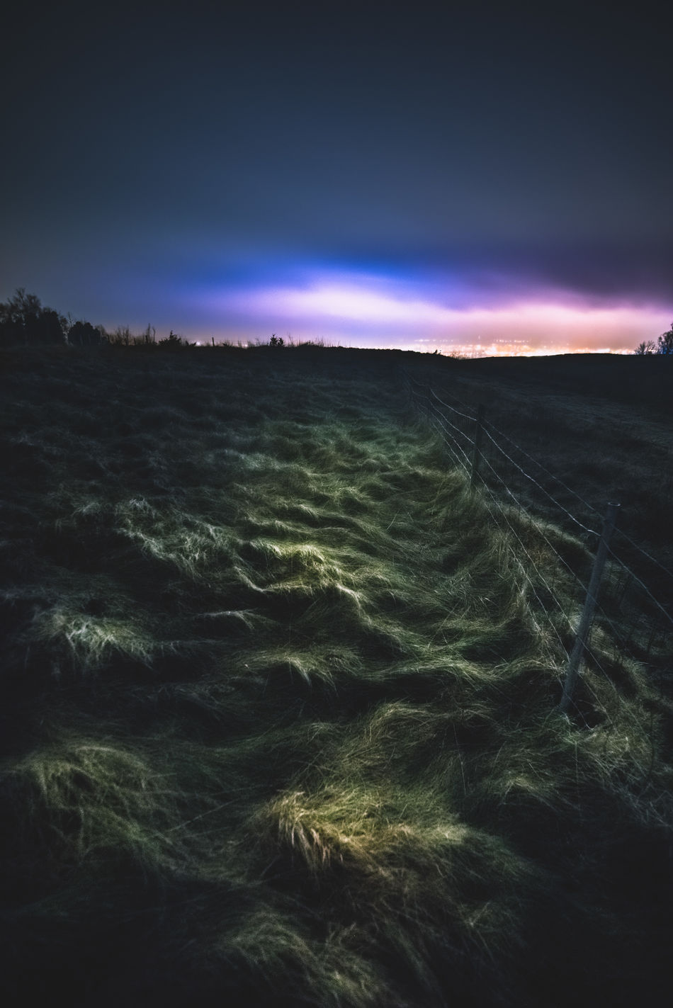 Follow the light. Beauty In Nature Falköping Landscape Long Exposure Motion Nature Night No People Outdoors Rural Scene Scenics Sky Sweet Tranquil Scene Tranquility Winter ålleberg