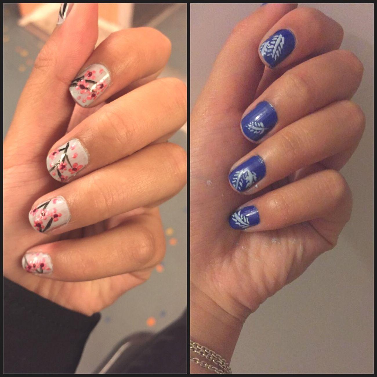 Nail art~♥️~ Nails Nail Art Nailart  Lovely Check This Out Hello World Nailpolish Cute Cherry Blossoms Leaves