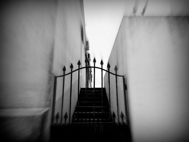 Architectural Feature Architecture Blurred Bokeh Building Built Structure Check This Out City Street Closed Corridor Day Diminishing Perspective Empty Places Eye4photography  EyeEm Best Shots EyeEm Gallery Gate Gateway Metal Gate No People Residential District Stairs Stairway The Way Forward Monochrome Photography