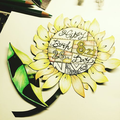 Sunflower Birthdaycard Drawing ひまわり ラクガキ Color Pencil