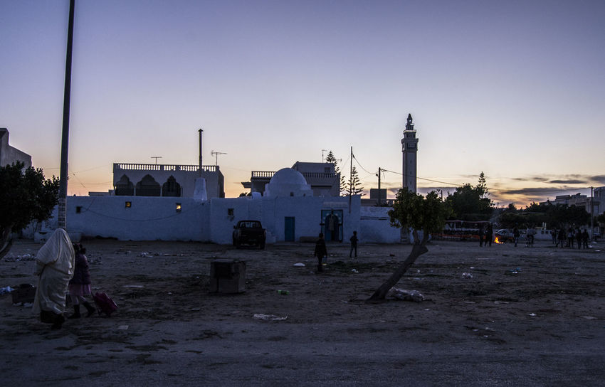 Tunisian sunset Tunisia Architecture Building Exterior Built Structure City Clear Sky Day Minaret Mosque Nabeul Outdoors Sky Sunset
