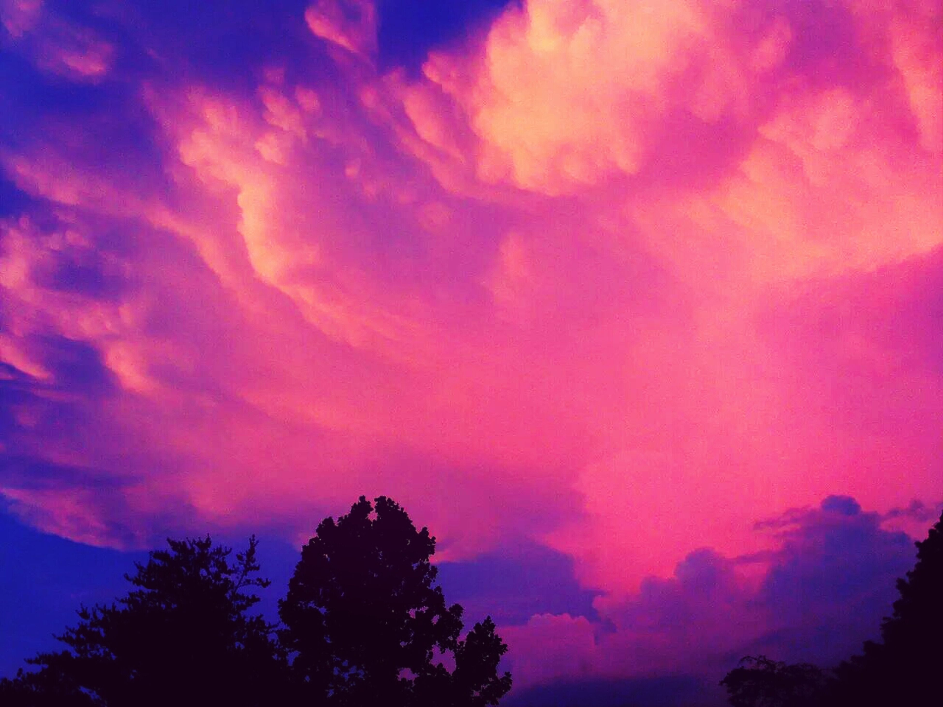 sky, low angle view, silhouette, beauty in nature, cloud - sky, scenics, tree, sunset, tranquility, tranquil scene, dramatic sky, nature, cloudy, idyllic, orange color, cloud, majestic, dusk, outdoors, atmospheric mood