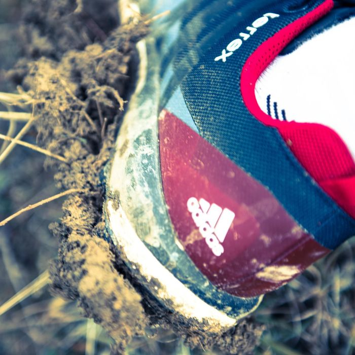 Trail Running Muddy Outdoors Shoes Adidas Mountain Running Action Terrex Close-up
