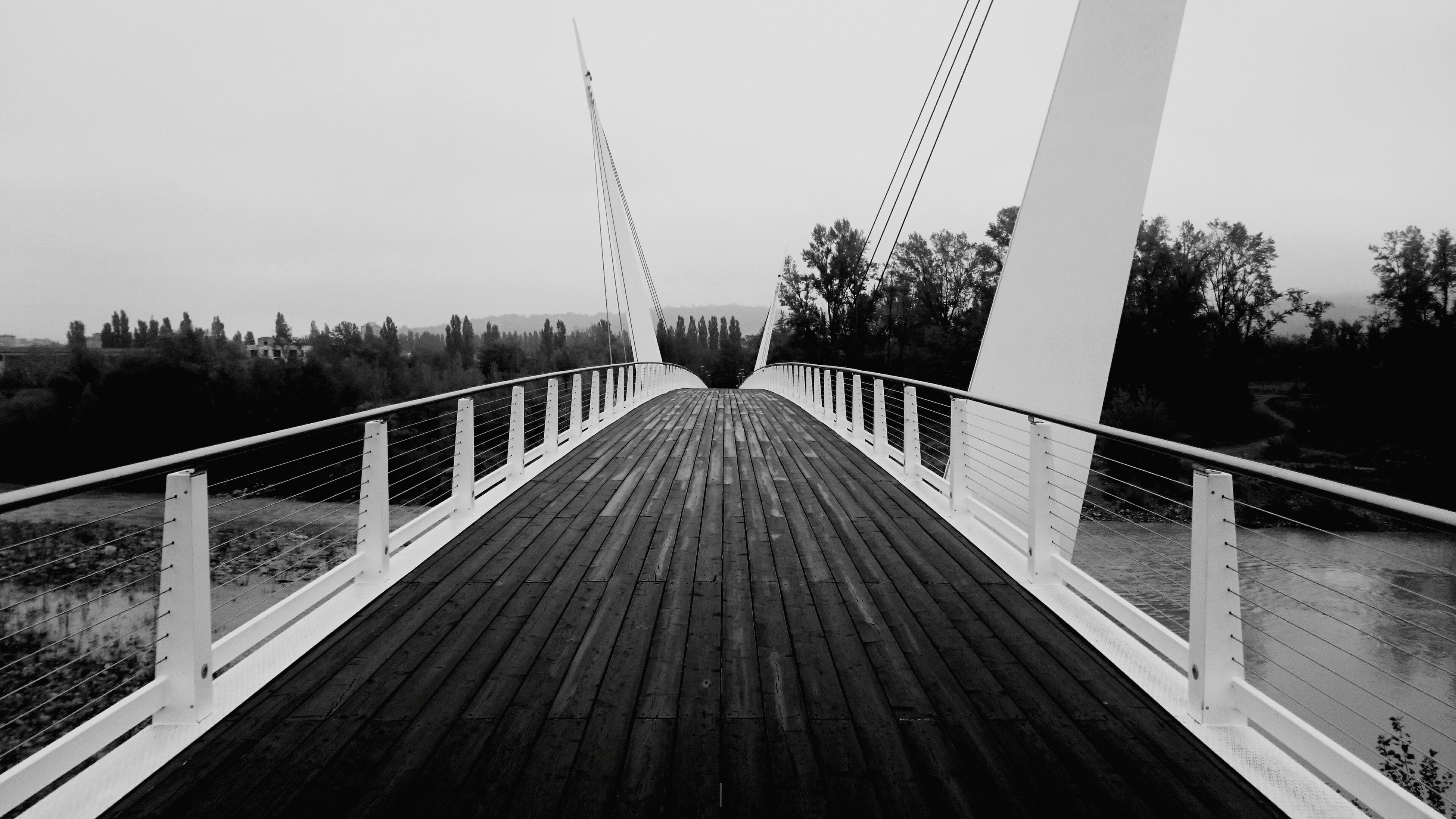 the way forward, diminishing perspective, vanishing point, connection, railing, long, tree, clear sky, footbridge, built structure, bridge - man made structure, sky, tranquility, architecture, nature, outdoors, no people, walkway, narrow, wood - material