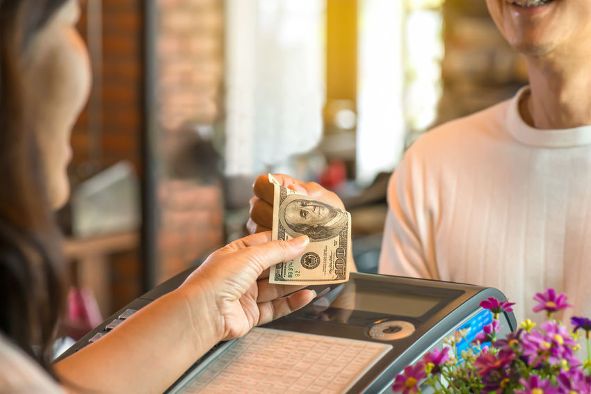 Happy customer ,smiling cashier. Cash Register Cashier  Cashier Machine Close-up Coffeshop Day Dollar Bill Happy Customer Day! Holding Human Hand Indoors  Leisure Activity Pay Bill People Real People Restaurant Smiling Face
