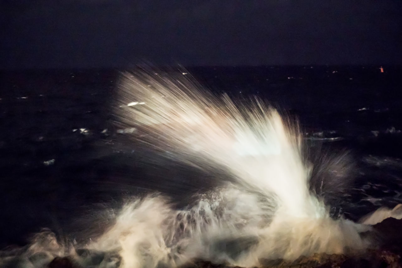 Splashing waves at night Beauty In Nature Blurred Motion Cuba Cuba Collection Long Exposure Malecon Motion Nature Night Night Photography No People Outdoors Power In Nature Sea Sky Speed Splashing Splashing Waves Travelling Photography Water