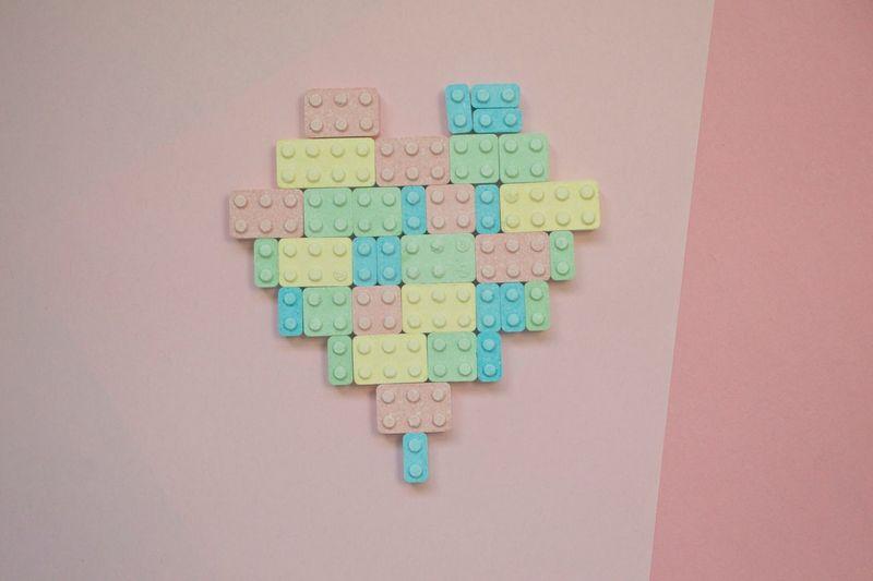 Pastel Power Lego Candy Colourful Heart Pastel Lego Lego Heart Block Heart Arrangement Artistic Photography Pop Photography Pink Background Love Brick Heart Soft Pastel Goth