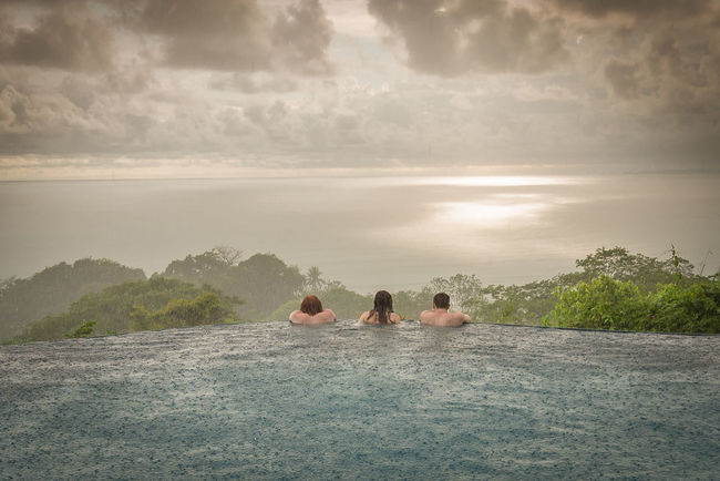 The Great Outdoors - 2016 EyeEm Awards Dominical Costa Rica In The Pool In The Rain Rainforest Clouds And Sky Three People Ocean View Natural Beauty Friends Family Enjoying Nature Vacation