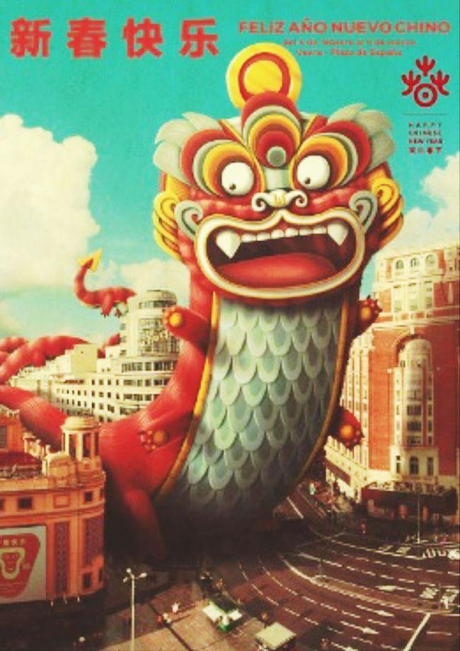 New Year Celebration Chinese New Year Madrid Spain Taking Photos Enjoying Life Partying Monkey Year