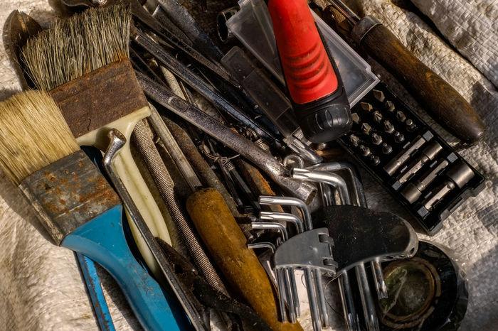 keys and tools Screw Driver Brush Close-up Day Hammer Indoors  Instrument Jute Sack Key Ring Materials No People Repair Screwdriver Tool Box Tool Kit Toolbox Tools Toolset Wrench
