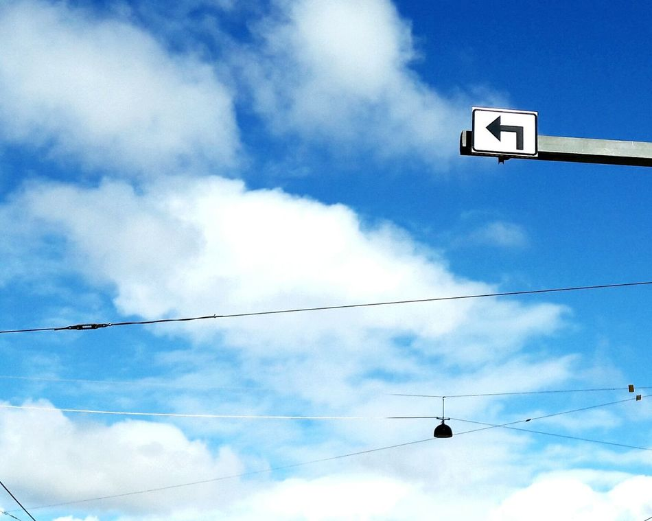 Sky Cloud Cable Streetlamp Blue Road Sign No People Turn Left