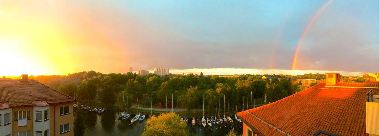 Capture The Moment After The Rain Sunset Rainbow Double Rainbow Evening Summer Evening Weather Rain Rainandshine