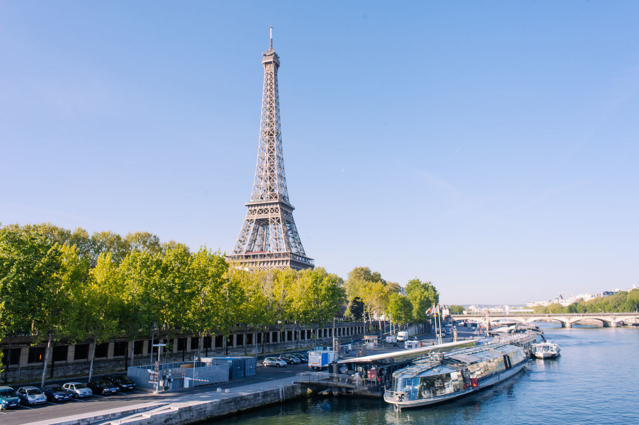 Icon of Paris - Eiffel tower Built Structure City Cityscape Cruise Eiffel Tower France History Icon Landmark Monument Nautical Vessel Paris River Seine Spring Tourist Tower Travel Travel Destinations