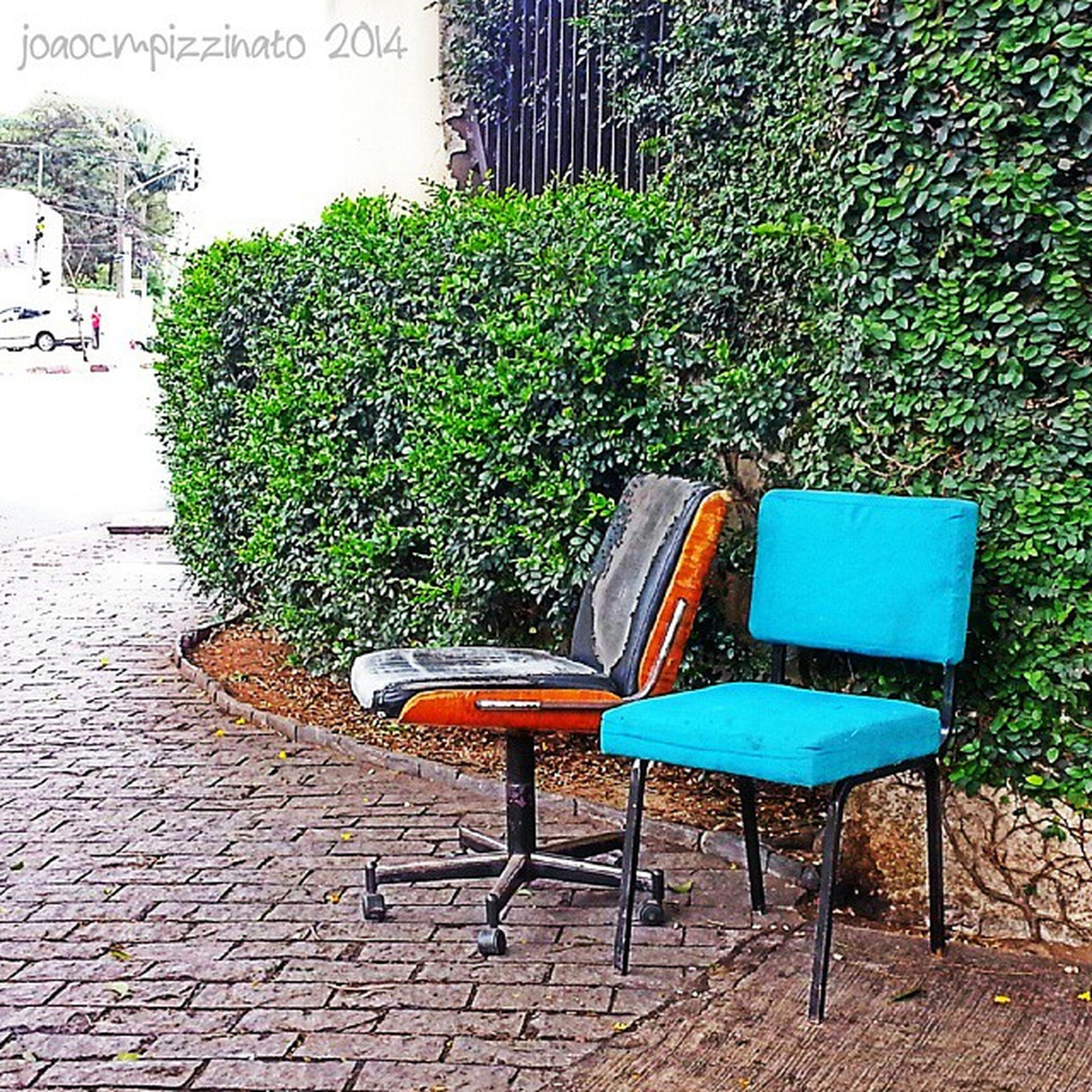 chair, empty, absence, seat, plant, growth, bench, potted plant, green color, table, built structure, day, front or back yard, no people, architecture, house, sunlight, building exterior, outdoors, furniture