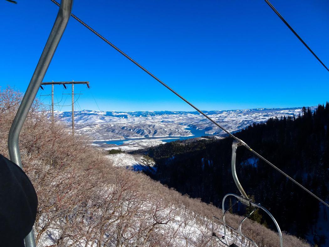 chairlift view of snowy lake in Utah Deer Creek Reservoir Skiing Sundance Sundance Mountain Resort Utah