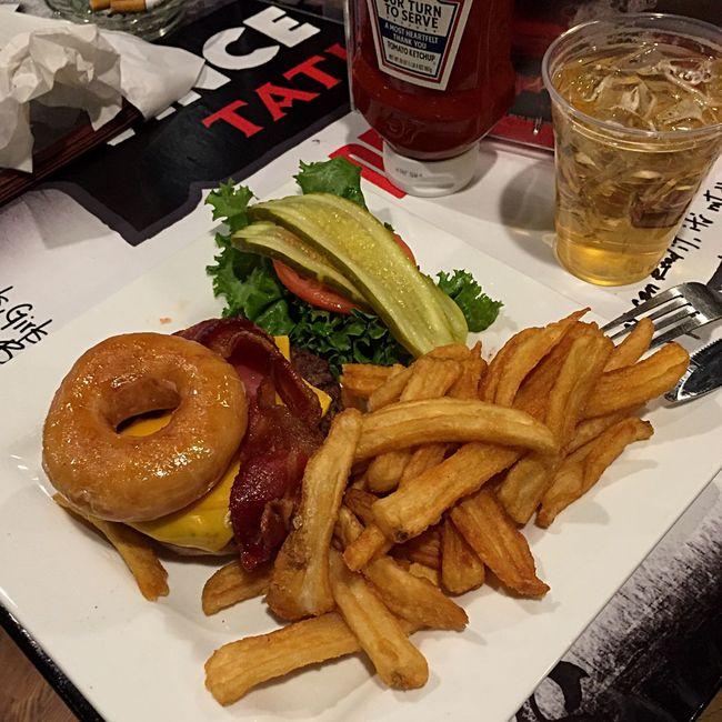Broke Gambling Krispy Kreme Bacon Burger Las Vegas