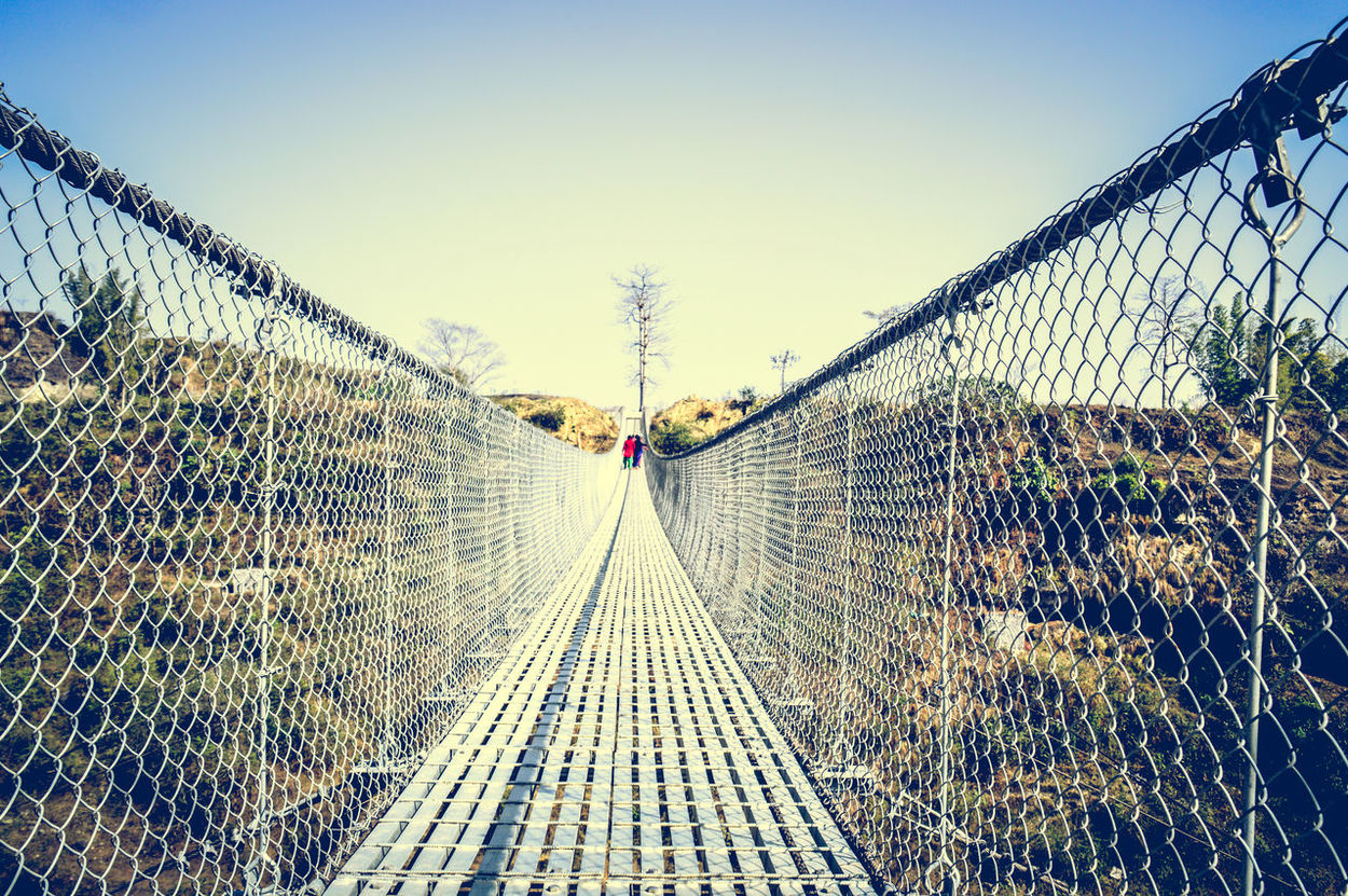 Abstract Minimalism Copy Space Sunlight Nature Real People Day Leisure Activity Sky Outdoors Architecture Hanging Bridge Focal Point Leading Lines Lines, Shapes And Curves Lines And Angles