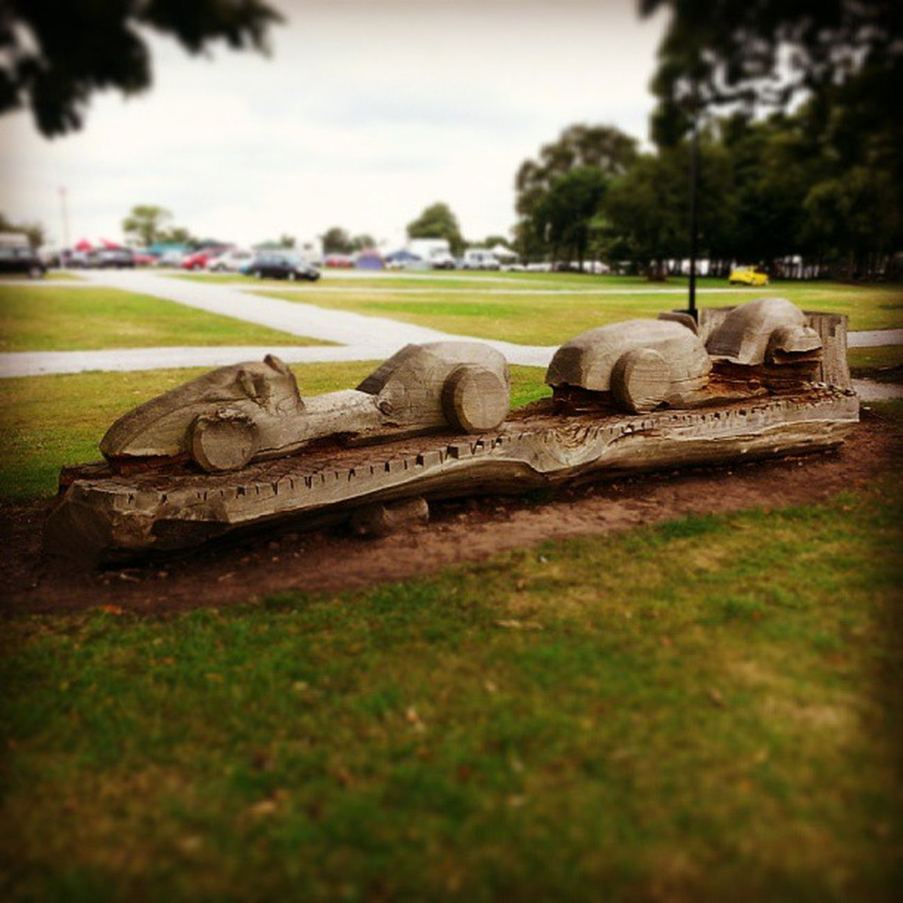 Playtime racing fun Oultonpark Racing Circuit Playground wooden sculpture car