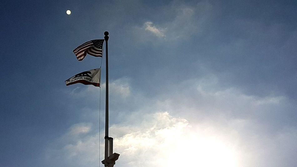 Flag Sky Outdoors American Flag America USA California Californian Flag Patriotism