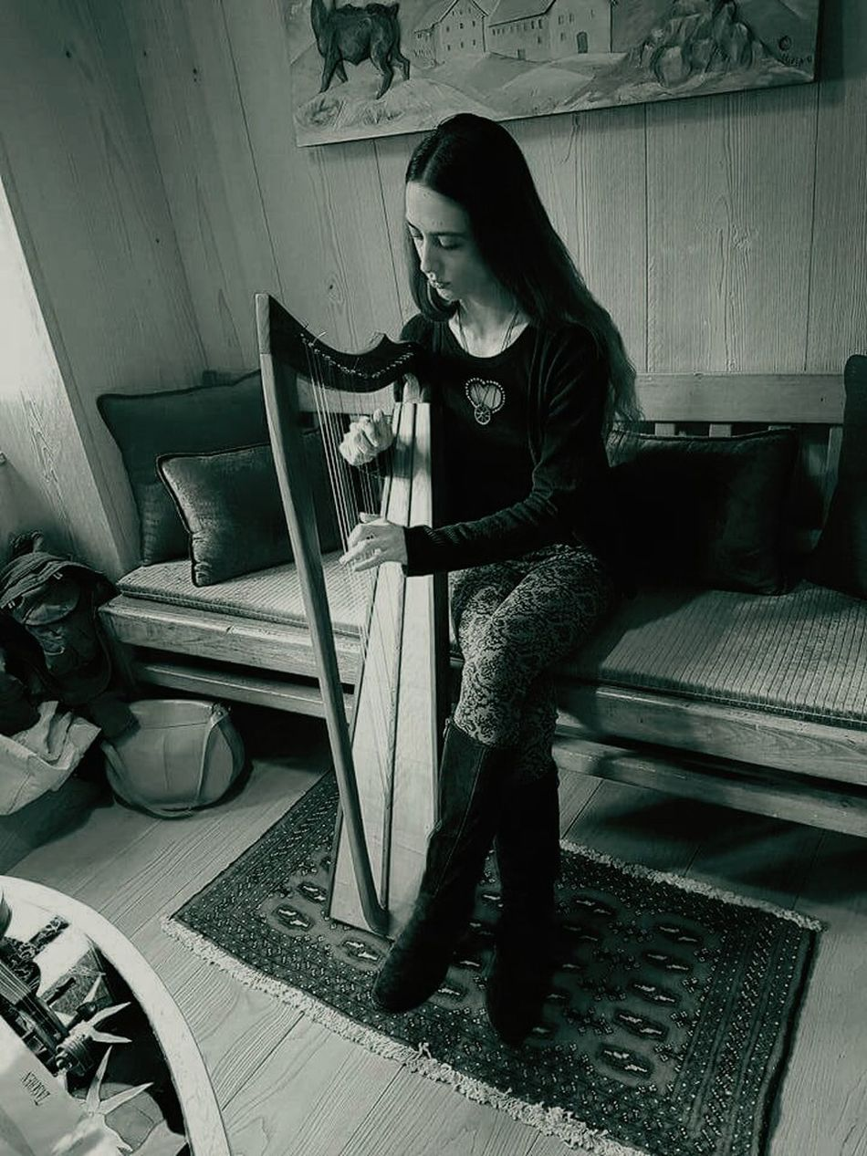 Me and my Harp One Woman Only Only Women Women Music Indoors  Plucking An Instrument Playing Celtic Beauty Celtic Harp