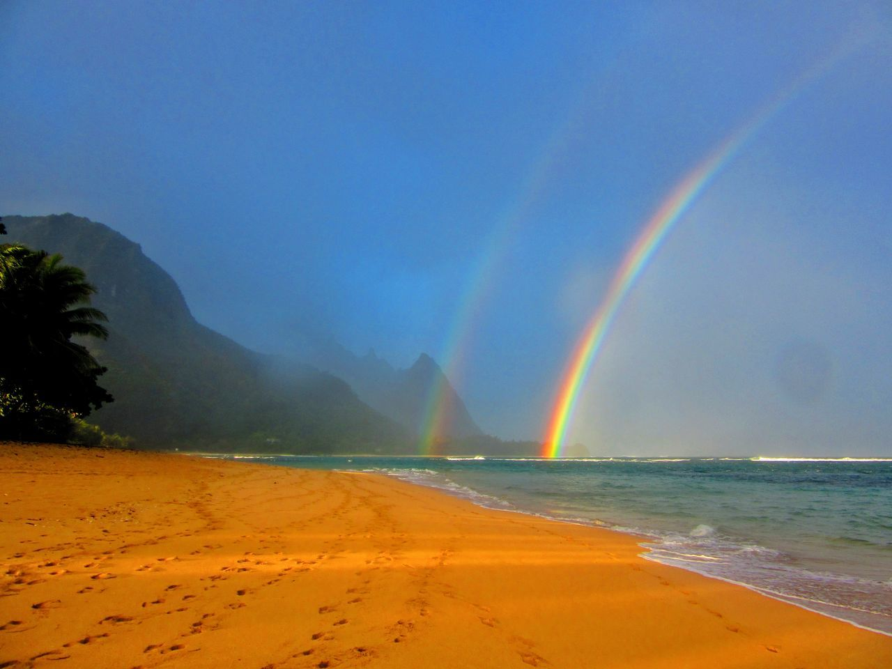 Last Christmas in hawaii Blue Sand Beach Accidents And Disasters Beauty In Nature Travel Destinations Outdoors Scenics Heat - Temperature Landscape Tranquility Nature Water Sky No People Day Kauai Kauai Rainbow Kauai♡ Traveling Home For The Holidays Finding New Frontiers