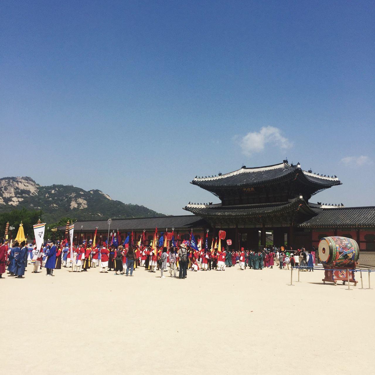 Gyeongbokgung Large Group Of People Sky Blue People 경복궁Gyeongbokgung Korea