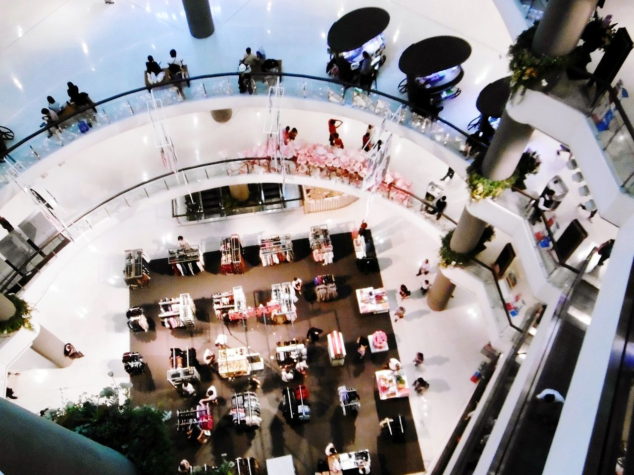 large group of people, real people, high angle view, indoors, built structure, women, architecture, men, crowd, fish-eye lens, day, people