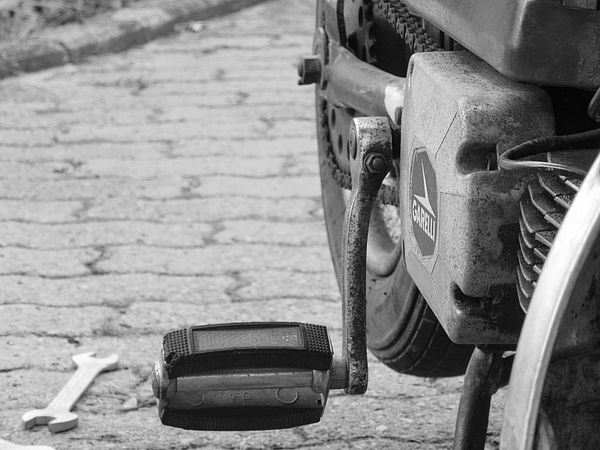 No People Outdoors Day Close-up Mofa Moped Mopeds Monochrome Tire Garelli OldButGold